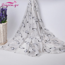 2016 Trending Style Little Penguin Voile Scarves and Shawls Muslim Women Hijab Sunscreen Soft Beach Shawl and pashmina
