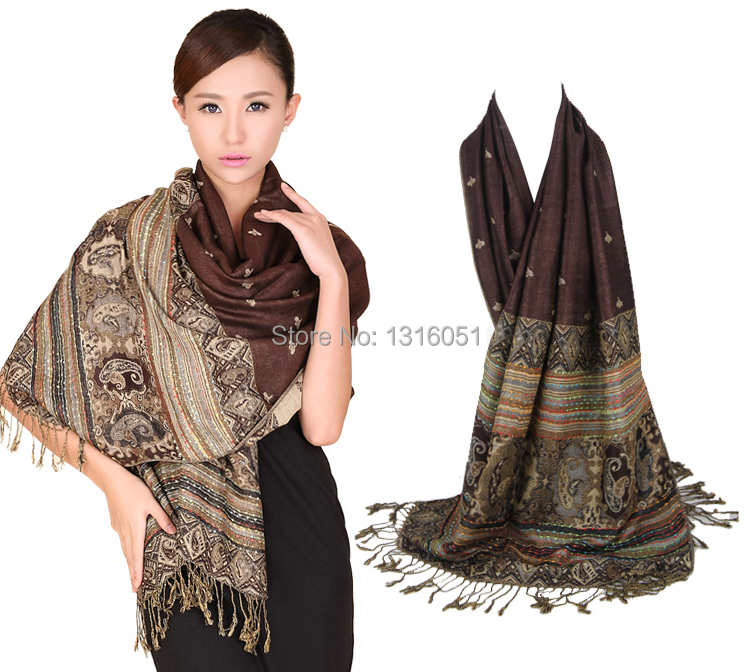 Free Shipping Hot Sale Double-Sides Fancy Paisley Women's Pashmina Shawl/Scarf Bee Many ColorsWS02(China (Mainland))