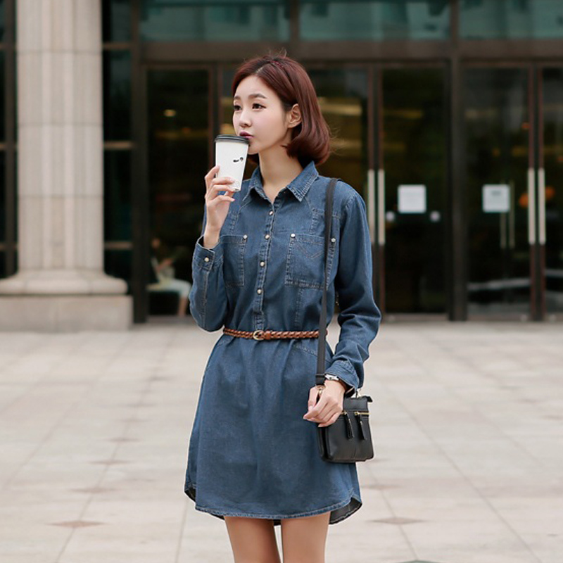 2015 spring summer casual loose denim one-piece dress plus size - yaodong shen's store