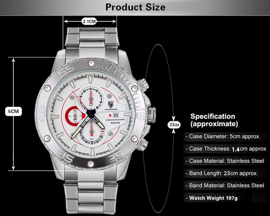 2016 новый TIGERSHARK марка световой серебряный набор часы мужчины спорт хронограф 30 м водонепроницаемый дата из нержавеющей стали наручные часы