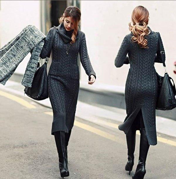 Серое теплое платье с чем носить