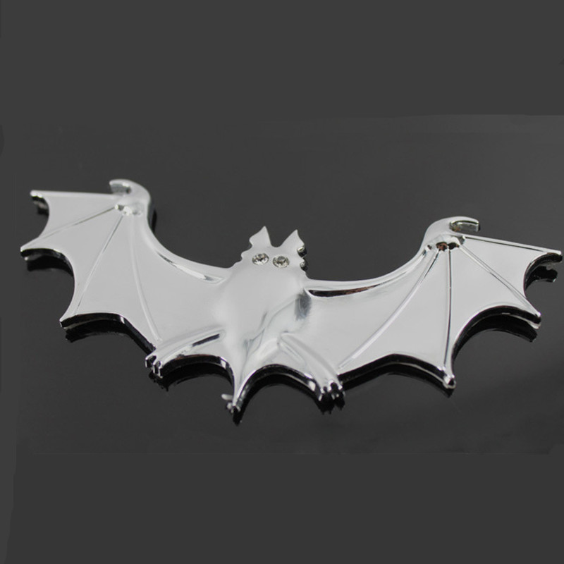 1Pcs Silver Auto exterior decoration supplies 3 d metal bats post shade personality body reflective stickers(China (Mainland))