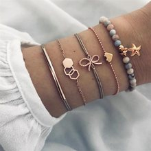 5 Pcs/ Set Exquisite Bowknot Heart Love Starfish Geometric Chain Leather Multilayer Bracelet Female Charm Gold Jewelry Gift(China)