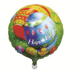 "HAPPY TOGETHER Crafts Factory 2015 Cheap Free Shipping 18"" Wholesale 50pcs/lot Round Mylar Helium Balloon For Happy Easter(China (Mainland))"