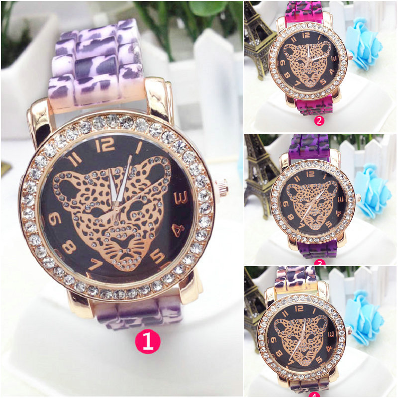 8 colors Fashion Silicone GENEVA Leopard Watch Hot Selling Women Dress Leopard Watch Women Rose Gold Watches 1piece(China (Mainland))