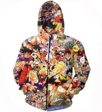 Free shipping Anime Dragon Ball Z Characters Zipper Outerwear Vegeta Goku 3D Hoodies Tracksuits Women/Men Hooded Sweatshirt