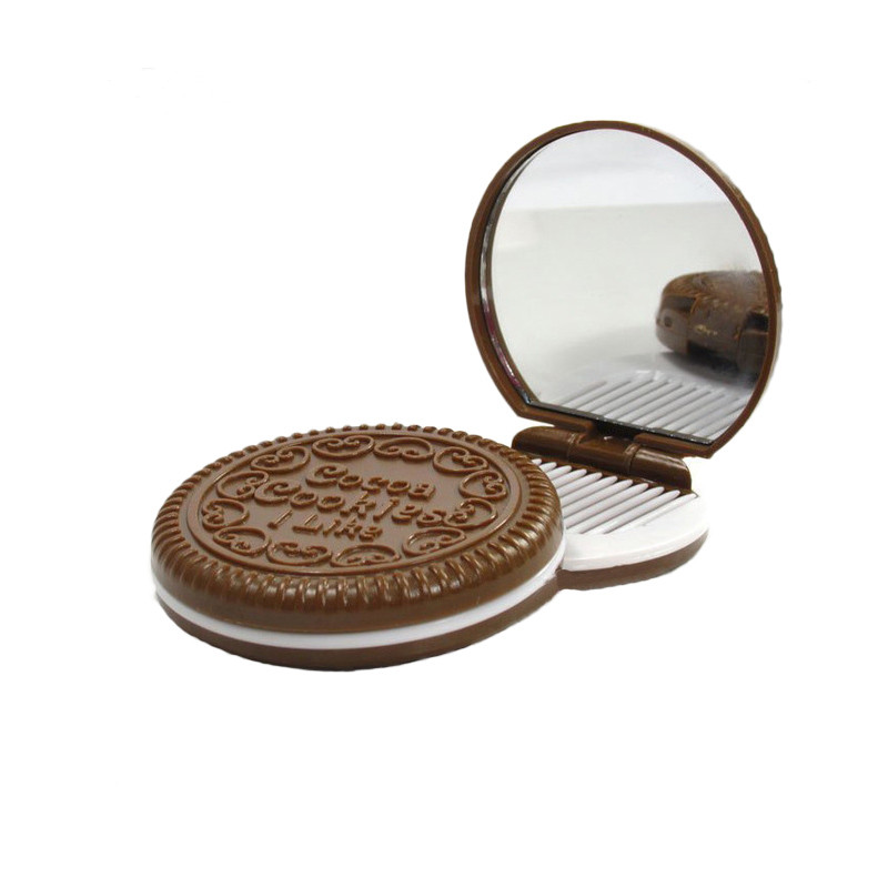 1x Women Cute Chocolate Cookie Shaped Makeup Mirror with 1 Comb Set Makeup Tool Pocket Mirror Home O