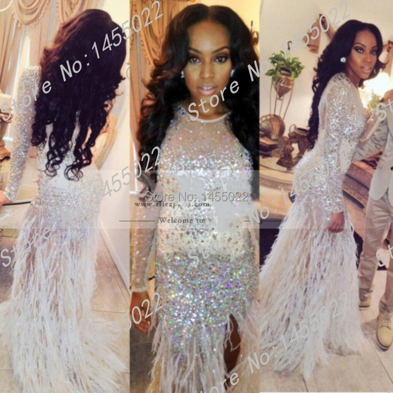 Luxury crystal evening dress 2015 mermaid scoop long for Mermaid wedding dresses with feather bottom