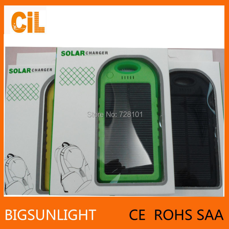 5000mAh Solar Charger External Battery Pack Power Bank For Cellphone iPhone 6/6 Plus 4s 5 5S iPad iPod Samsung Nokia Portable(China (Mainland))