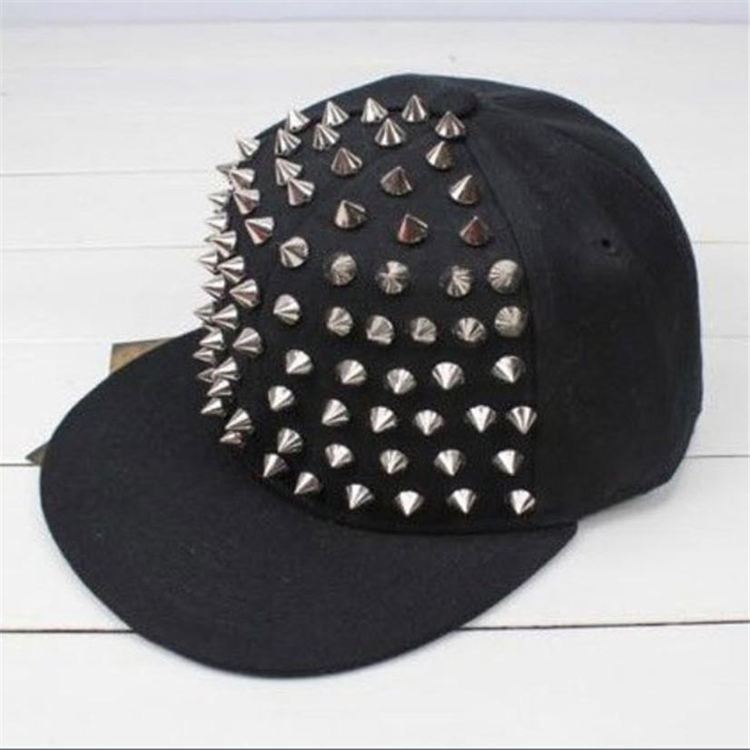 Factory price 2015 HOT Unisex Punk Hedgehog Rock Hip Hop Silver Rivet Stud Spike Spiky Hat Cap Baseball Cap jul24(China (Mainland))