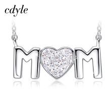 Cdyle Rose Gold Mom Ketting Versierd met kristallen Moeder Gift Rose Gouden Sieraden Hart Kristal Collares(China)