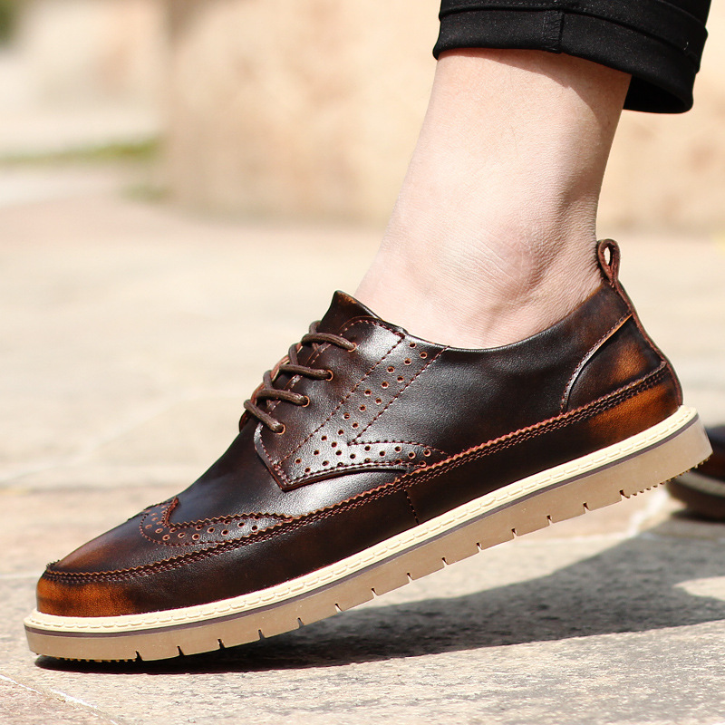 Bullock Style Genuine Leather Men Casual Shoes High Quality Brand Leather Shoes For Men Oxfords Shoes Fashion Black Brown 8(China (Mainland))