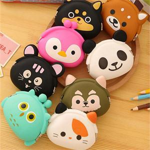 Cute Animals Women Silicone Coin Purse Japanese Candy Color Jelly Silicone Coin bag Mini key Wallet(China (Mainland))