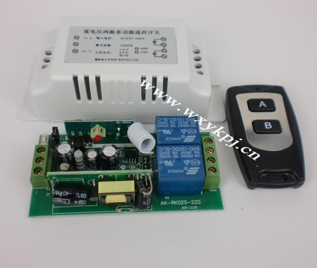 FREE SHIPPING AC220V 2 Channel RF wireless remote control switch system/Transmitter&Receiver