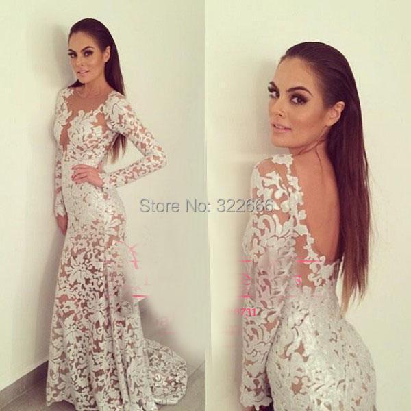 White 2015 Lace Prom Dresses Sheer Crew Neckline Backless Mermaid Long Transparent Sleeve Floor-Length Wedding Evening - love_bridal store