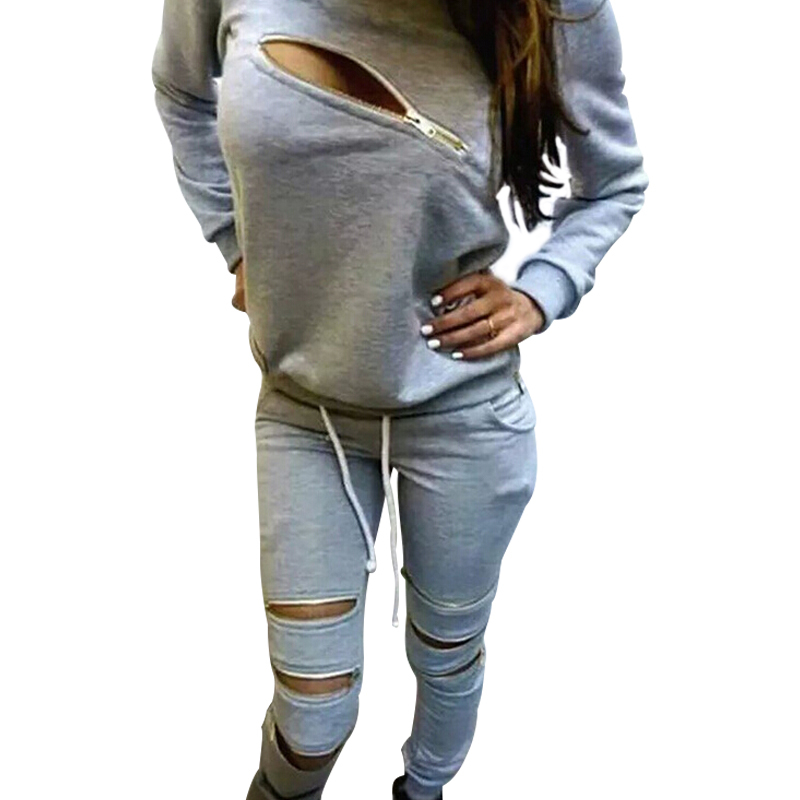 Sport Sweat Suits 2 Piece Set Jogging Survetement Femme 2015 Fashion Zipper Design Hoodies Women Sweatshirt Tracksuit Sets HY997(China (Mainland))