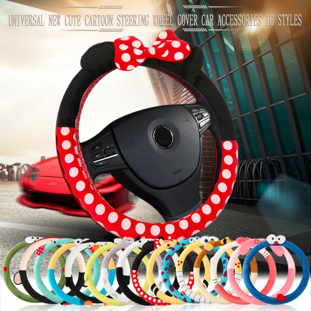 Car Styling Bow Car Steering Wheel Cover Cute Cartoon Universal Interior Accessories Set Women