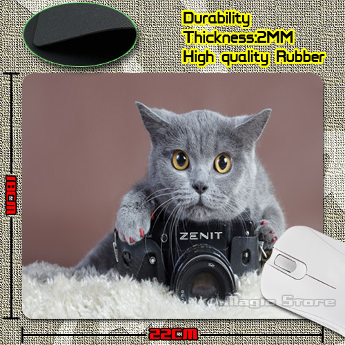 Retail Luxury Printing Gray Cat with a Zenit Camera Game Design Gaming PC Anti-slip Laptop Mouse Mat for Optical/Trackball Mouse(China (Mainland))
