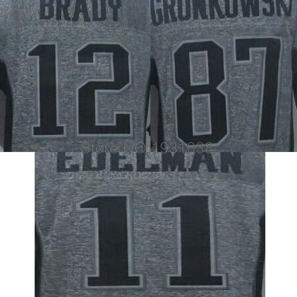 High Quality New #87 Rob Gronkowski #12 Tom Brady #11 Julian Edelman Gray Mens Stitched Gridiron Gray Football Jerseys Cheap<br><br>Aliexpress