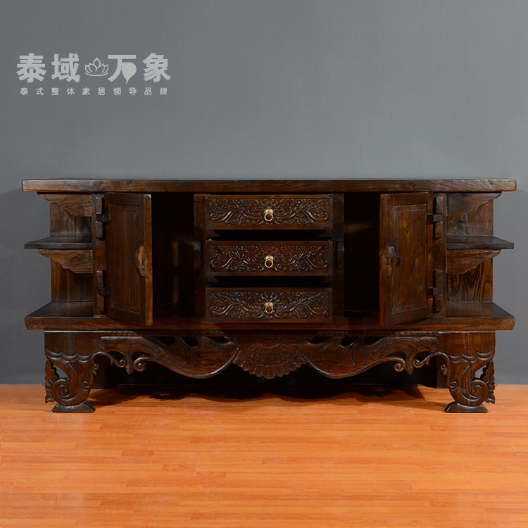 Southeast Asian Style Living Room Tv Cabinet Custom Wood