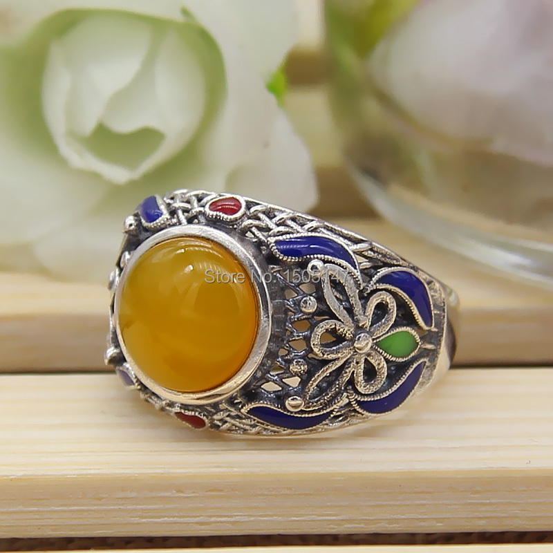 925 sterling silver wire inlay cloisonne enamel butterfly ring Yellow agate rings <br><br>Aliexpress