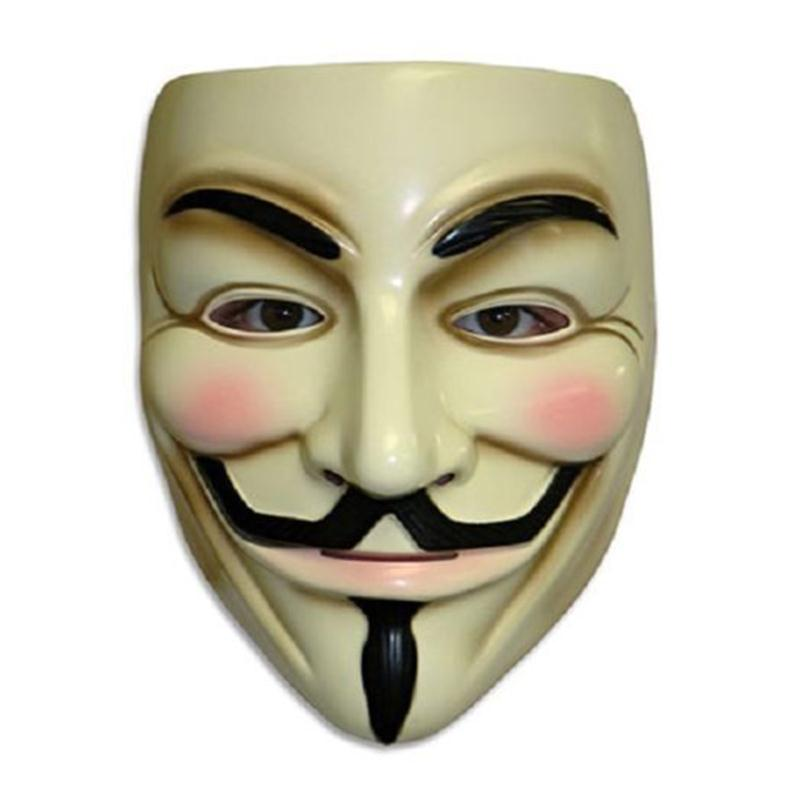 The V Vendetta Mask Guy Fawkes Anonymous Halloween Mask Party Cosplay Fancy Dress Adult Costume Supplies White Yellow 2 Colors