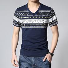 New 2016 Men's Clothing Tops & Tees T-Shirts Summer men's v- collar Short Sleeve T Shirt Men Casual clothes trend T-Shirt 3XL