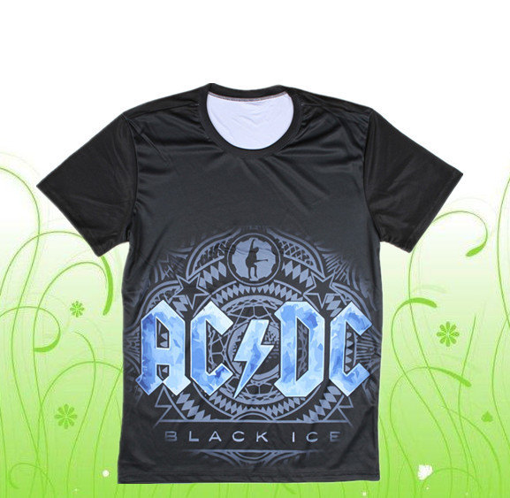 Black round neck 3d t-shirt men ACDC casual Tees 2015 summer - 3D T-Shirt Number One store