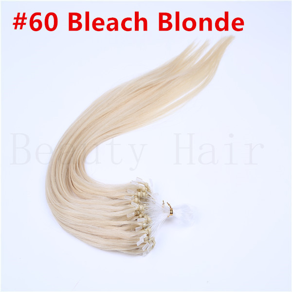 Wholesale 16 18 22 24 #60 Platinum Blonde Natural Silky Straight Micro Loop Ring/Beads Hair Extension 100s 0.5g/0.7g <br><br>Aliexpress