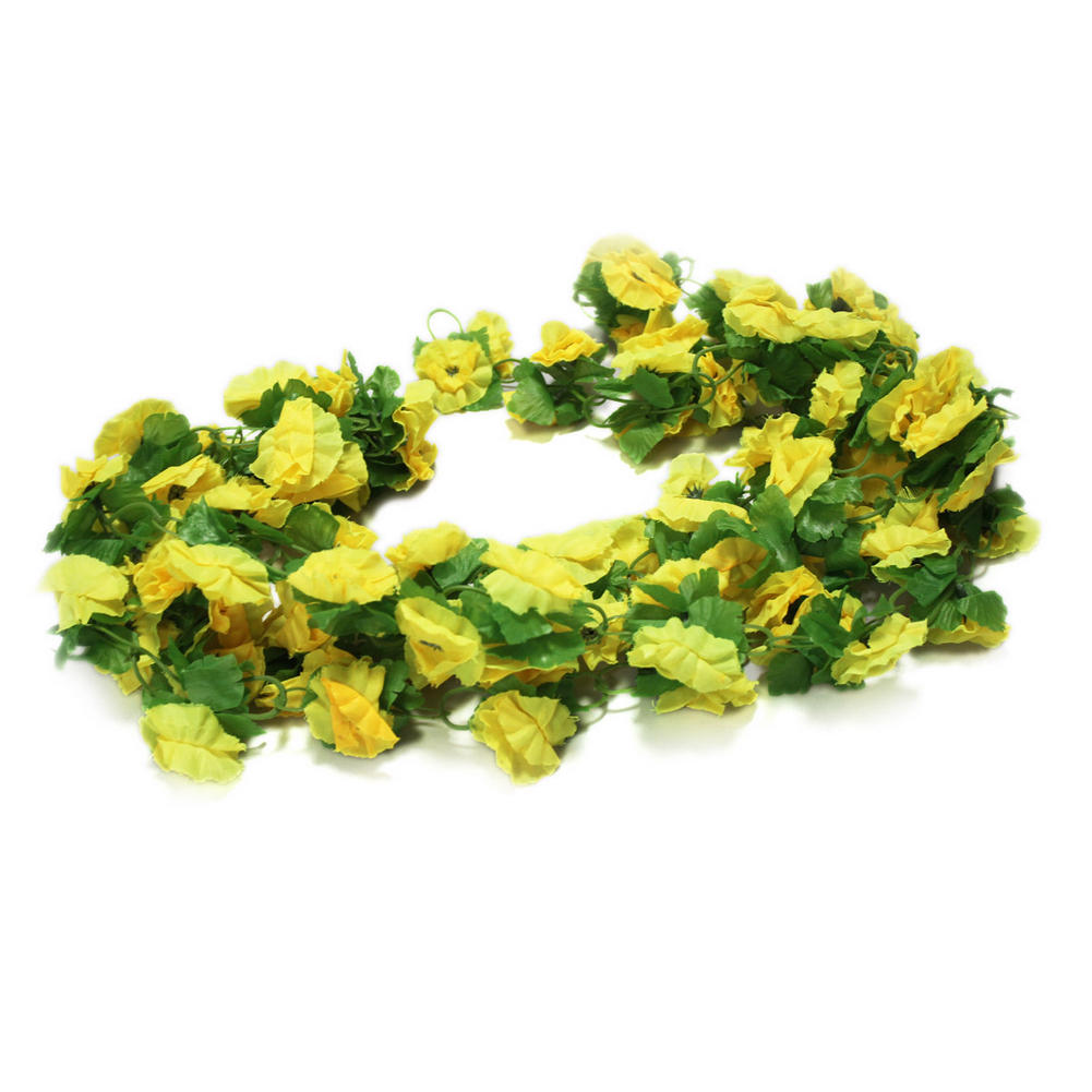 Hot Sale Fake Yellow Flowers Artificial Leaf Vine Wall Home Wedding Floral Decor(China (Mainland))