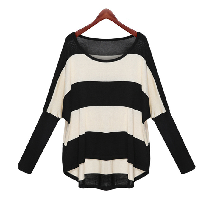 M-XXXL Spring Summer 2015 Batwing Sleeve Colorblock Striped Thin Pullover Knit Sweater for Women Loose blouses & shirts WS-035(China (Mainland))