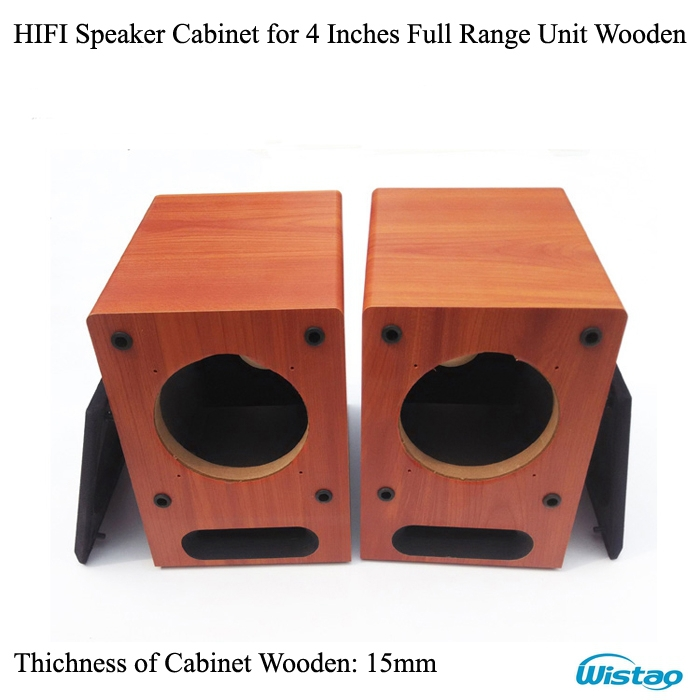HIFI 4 inch Full Range Speaker Empty Cabinet Wooden Box Front Labyrinth Guide Hole 15mm MDF Board Wine-red DIY Audio  -  WISTAO BLUETOOTH AUDIO & 3C MALL store