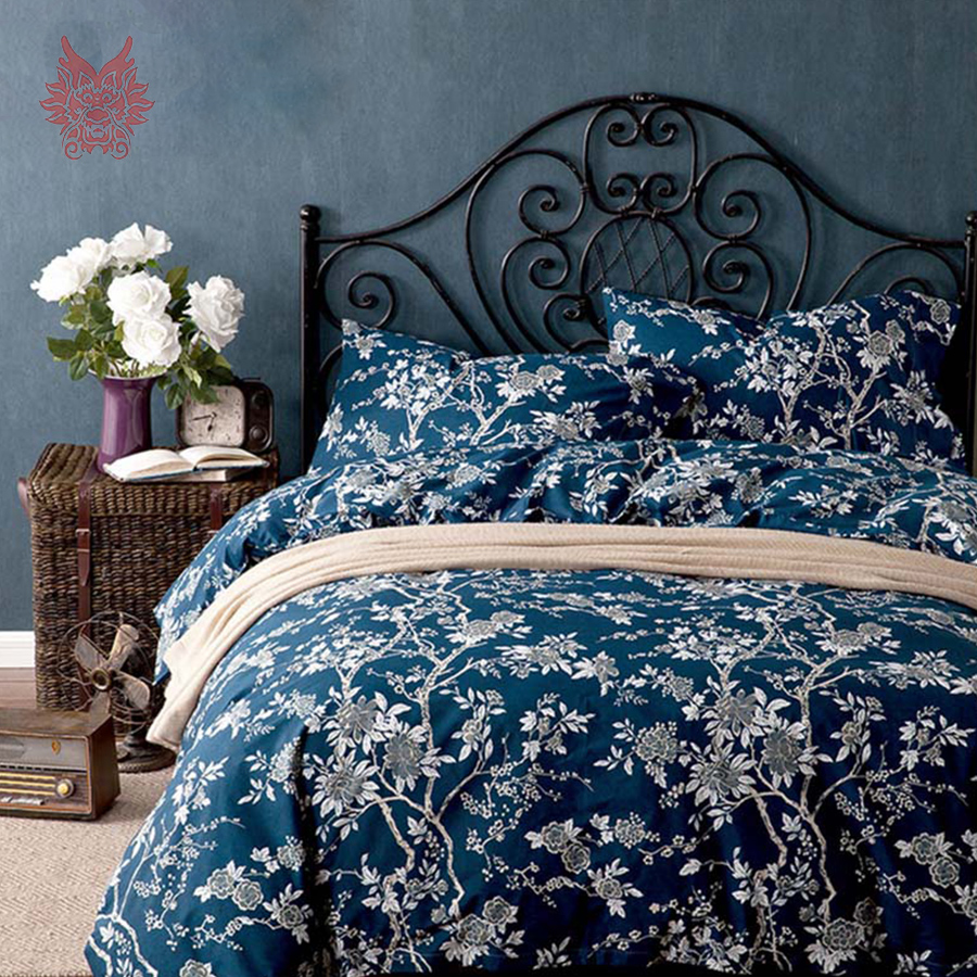 100 cotton bedding sets drap de lit type blue white floral cama comforter cover set 4pcs set. Black Bedroom Furniture Sets. Home Design Ideas