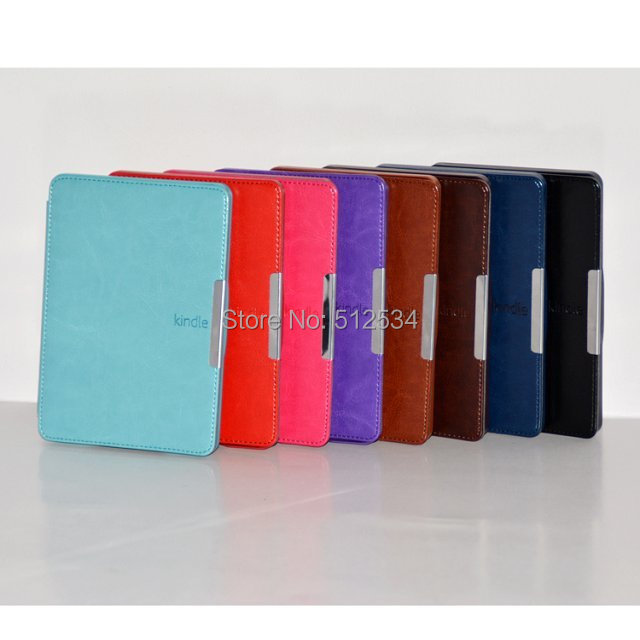 50pcs/lot free shipping Crazy Horse Leather Case Magnet Cover For Amazons Kindle Paperwhite(China (Mainland))