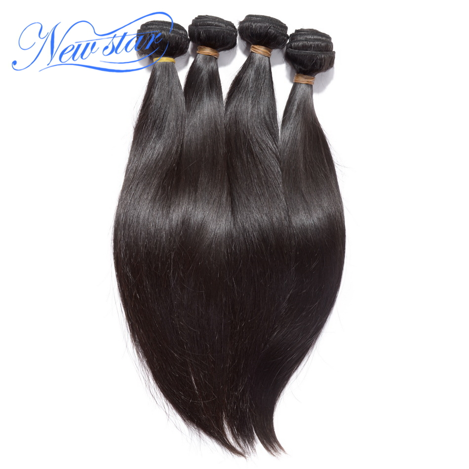new star hair 4 pieces/lot virgin Eurasian human hair extensions straight bundles machine weft with cuticle natural color