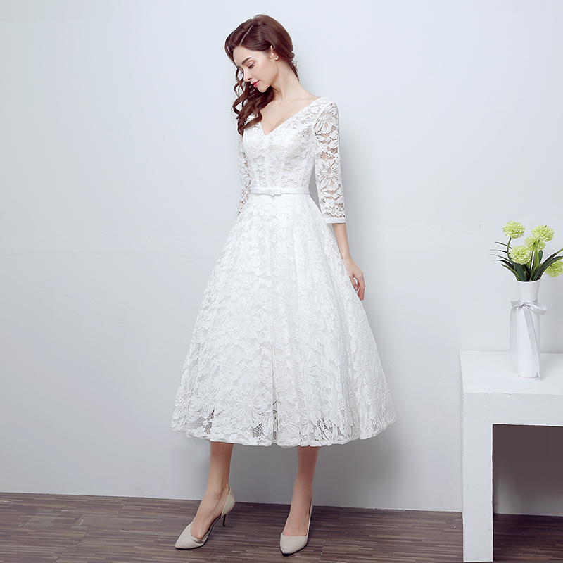 Tea length wedding dresses with sleeves for sale for Where to sale wedding dresses