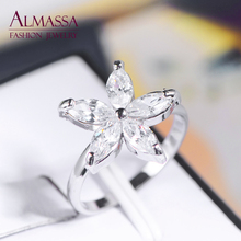 Almassa Platinum Plated Trendy Flowers AAA CZ Diamond Women Finger Ring Wedding Party Anillos Bijoux - Fashion Jewelry store