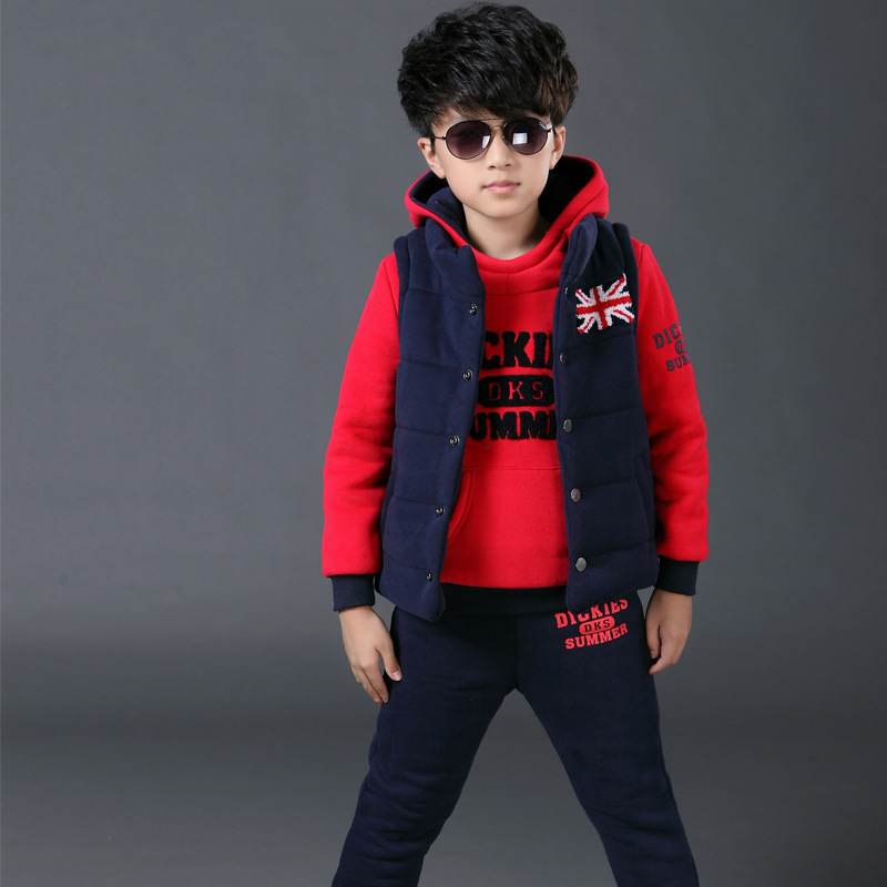 Autumn Winter Thickening Warm Fleece Baby Clothes Boy Children Three Dresses Of The Girls New