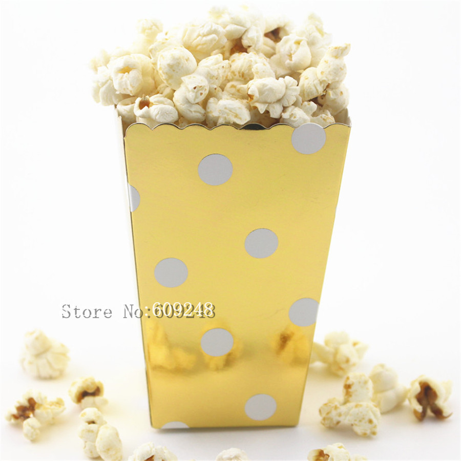 24pcs Polka Dot Gold Foil Paper Popcorn Boxes,Metallic Party Favor Boxes,Candy Snack Treat Cups,Carton,Wedding Favor Box,Holiday(China (Mainland))