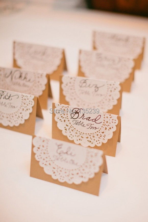 50pcs wedding name place table or escort cards shabby for Name place cards wedding