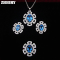 Natural Blue Topaz Jewelry Set Genuine 925 Sterling Silver Gemstone Women Ring Earring Pendant Fine jewelry