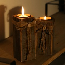 1Pc New Retro Wooden Candle Holder On Trend Home Decorate Candlesticks Gifts(China (Mainland))