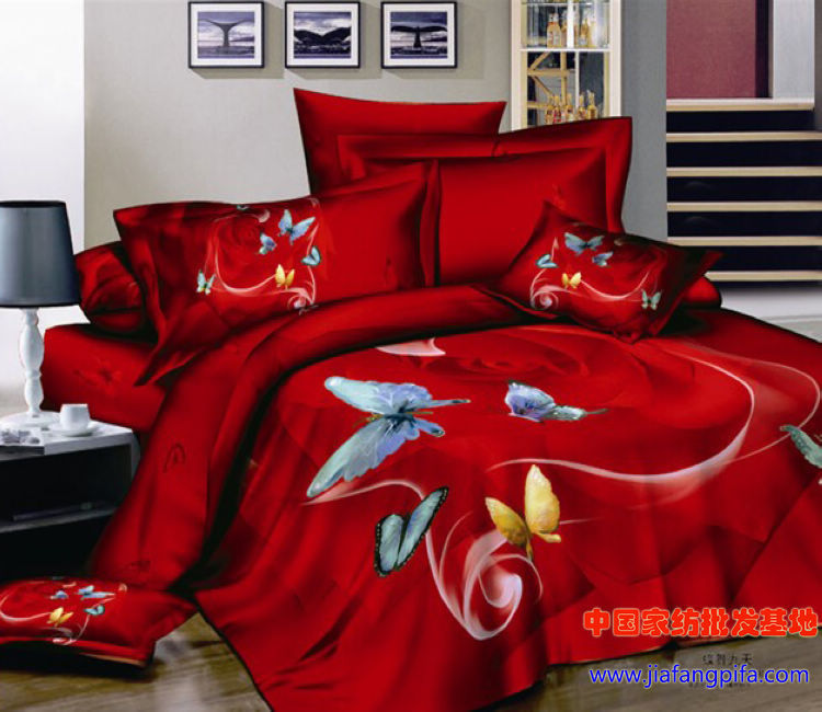 Red butterfly bedding forter set sets queen size for