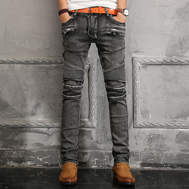 2015 brand men high quality european biker style fashion sandblasted skinny jeans pantsОдежда и ак�е��уары<br><br><br>Aliexpress