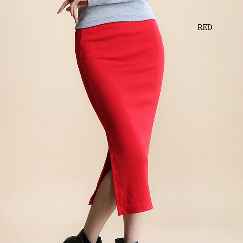YI-NOKI Winter Autumn Long Skirt Fashion Sexy Solid Color Cotton Skirts Womens Maxi Skirt High Waist Elasticity Pencil Skirt