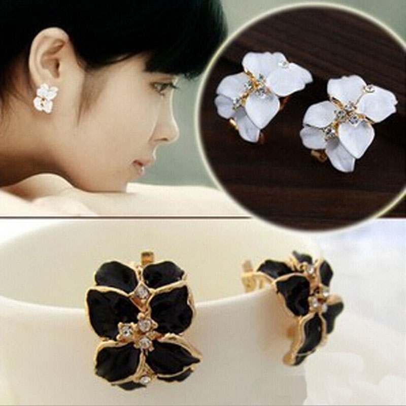 New Women Cute Gardenia Flower Crystal Ear Studs Rhinestone Earrings Ear Hoop Buckle Jewelry For Women(China (Mainland))