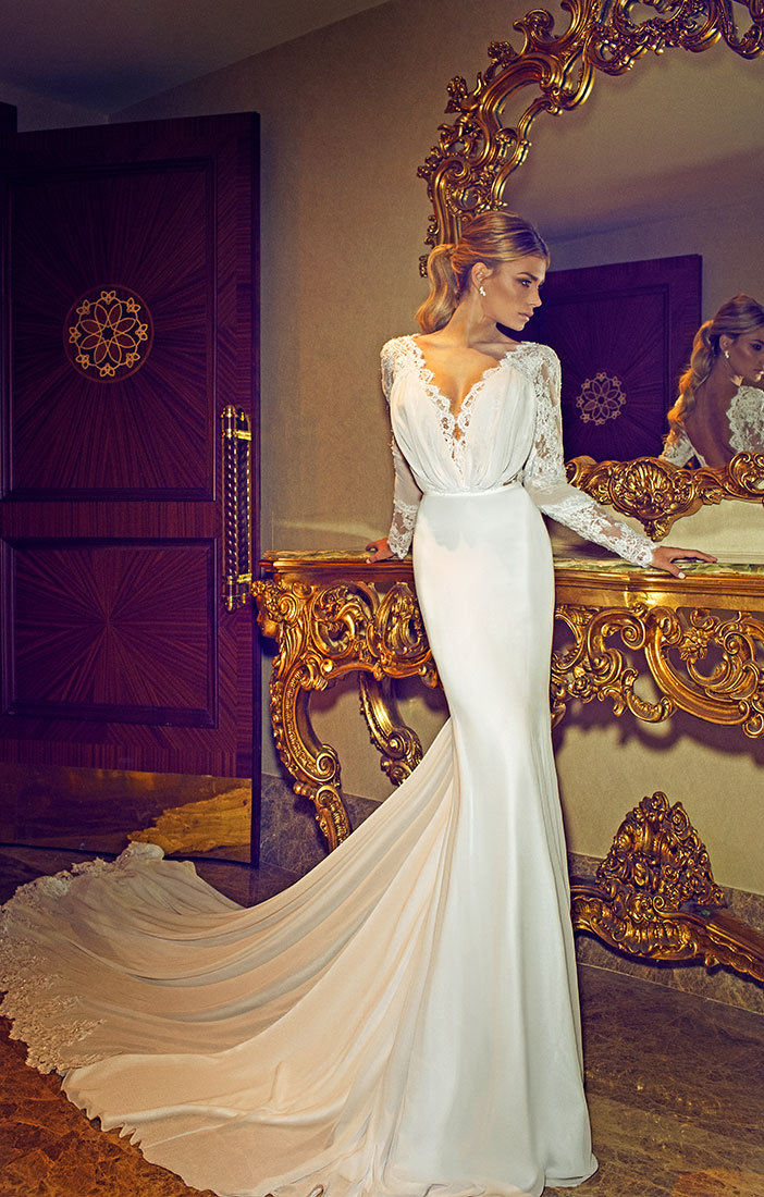 Buy sexy long train full sleeve lace v for Mermaid wedding dress with train