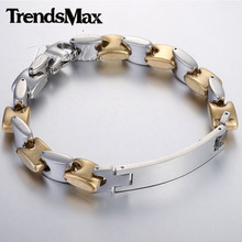 Trendsmax 10mm Mens Chain Boys Sqaure Bead Link Stainless Steel ID Bracelet Fashion Jewelry KBM116 - Flagship Store store