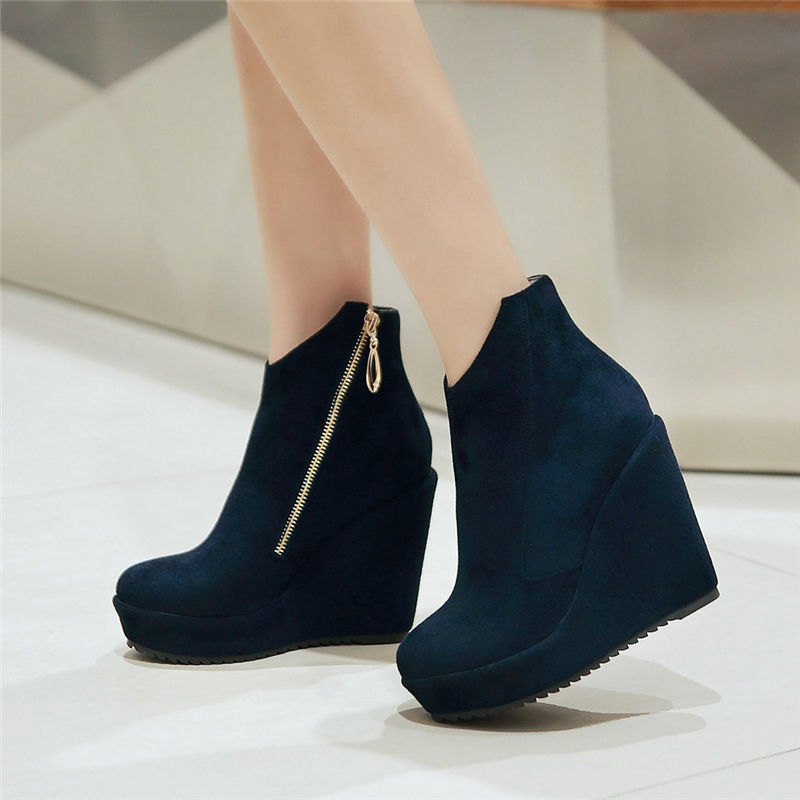 Simple 2016 Women Ankle Boots High Heels 2 Buckles Square Heel Women Boots