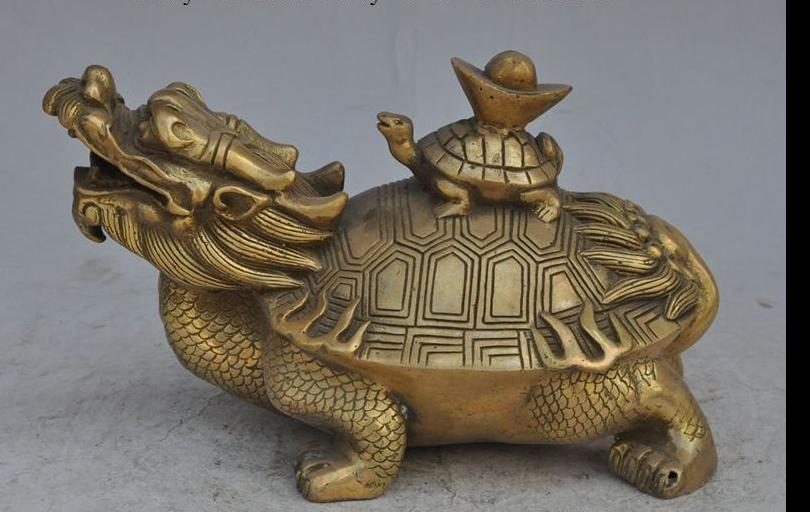 wang671115623+++China Brass FengShui wealth yuanbao ingot Bullions dragon turtle Tortoise statue(China (Mainland))